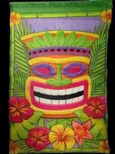 Mini Tropical Island Scene Setter Tribal Voodoo TIKI HEAD MASK GARDEN FLAG Hawaiian Tahitian-style decor. Indoor Outdoor Luau Party Window, Door, Wall Hanging Patio Decoration Prop, 18x12.5 Poly Nylon, string hanger. Bright Multi-Color Party Supplies - http://www.horror-hall.com/Mini-Tribal-Banner-TIKI-MASK-GARDEN-FLAG-Luau-Party-Decoration-HH-DT-173038-1401-TIKI.htm