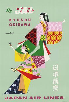Nagai, Japan Air Lines – Kyushu-Okinawa, Lithograph, ca. 1958