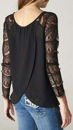 Black Long Sleeve With Lace Blouse Black Maxi Outfits, Lace Sleeves, Shirt Sleeves, Workwear Fashion, Jeans Fashion, Blouses For Women, Casual Dresses, Kimono, Long Sleeve