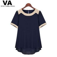 VA Plus Size 2015 Summer Women Short Sleeve Spliced Chiffon Shirt Ladies Solid High Street Casual Blouses Tops Blusas 5XL F0937