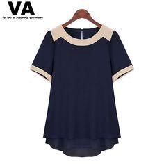 Barato Va Plus Size 2015 mulheres verão curto manga da camisa Chiffon Blusas de rua Casual Tops Blusas 5XL F0937, Compro Qualidade Blusas diretamente de fornecedores da China:                           Dica para a escolha de tamanho adequado:       1.   Use roupas semelha