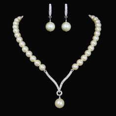 Bridal Ivory Pearls Jewelry Set Clear Swarovski by Annamall