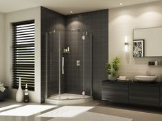 "Fleurco Platinum Neo 42"" x 42"" Neo-Angle Shower Door- Glass to Glass Hinges PXNA42 $1,670.40"