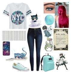 """""""So much anime, so little time"""" by potato-swan77 ❤ liked on Polyvore featuring Aéropostale, Myo, Eos, Converse and JanSport"""