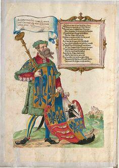 Seite 2 mit Darstellung eines Herolds und dem Wappen der Fugger von Kirchheim und Weißenhorn -- Das Ehrenbuch der Fugger - BSB Cgm 9460, Augsburg, 1545 - 1547, mit Nachträgen 1548/49 und 18. Jh. [BSB-Hss Cgm 9460]