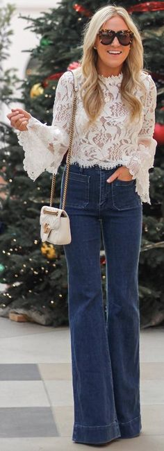 #winter #outfits white lace shirt, wide leg jeans, small white bag