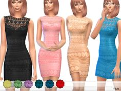 Sleeveless crochet dress. 10 different colors. New item. Custom mesh by me. Found in TSR Category 'Sims 4 Female Everyday'