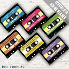 Printable Cassette Tape Tags (Favor Tags/ Thank You Tags/ Thank You Stickers). 80s Birthday Parties, Retro Birthday, Birthday Celebration, Celebration Music, 80s Party, Vip Pass, Thank You Stickers, Thank You Tags, Game Truck Party