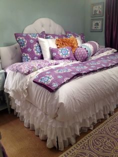 Guest bed in nursery. Queen bed made into a daybed. Pottery Barn Brooklyn Bedding