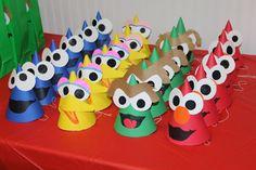My Sesame Street inspired #birthdayHats only cost $2 to make 16 hats #elmo #birthdayparties #sesamestreetparty #2ndbirthdayideas  #kidparties