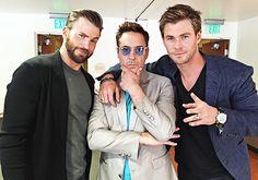 A Chris sandwich! Chris Evans Robert Downey Jr and Chris Hemsworth Avengers Age of Ultron
