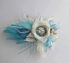 Gatsby Wrist Corsage in White, Silver & Gold with Turquoise Peacock Feather for Prom on Etsy, $50.00