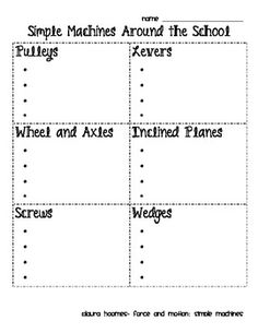 This is a simple worksheet for students to search for types of simple machines while on a scavenger hunt around the school.