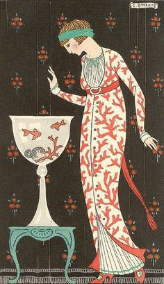 """GEORGE BARBIER - """"...these images provide such a wonderful glimpse into the texture, shape and pattern of the times of the 1920s-30s - as well as being being beautifully executed design images in themselves. They... [are] hopeful images, conveying a belief in the new technologies of the time and the bright future expected, which was...destroyed so terribly with the onset of WWII.Perhaps...that gives the images an added poignancy...."""" From Desert Dreamer"""