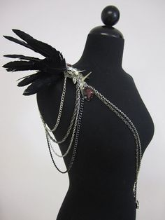 RAVEN Black lrg feather epaulet w/  spikes by FlightofFantasies, $235.00