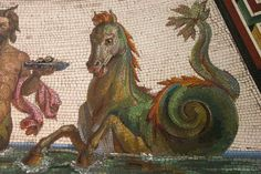 Hippocampus detail from the mosaic floor at the Hermitage.