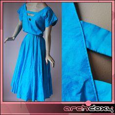 Vintage 80s New Wave Rose Print Blue Cut Out Rockabilly Swing Summer Dress UK12