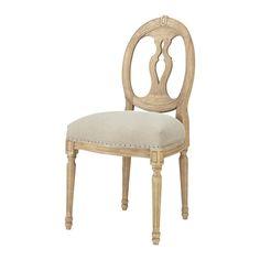 Sedia a medaglione in lino e massello di quercia 199 eur