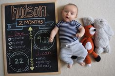 2 month baby milestone photo. DIY chalkboard.