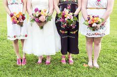 Vestidos para las damas de una boda mexicana.