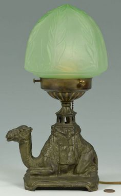 Art Deco Style Table Lamp w/ Camel Figural Base