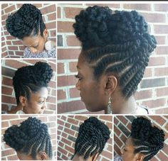 These 3 Cute Flat Twist Hairstyles Take Winning Prize – for Being Ideas Of Black Updo Hairstyles with Twists Natural Hair Twists, Natural Hair Updo, Natural Hair Care, Natural Hair Styles, Natural Updo Hairstyles, Dreadlock Hairstyles, Twist Styles, Updo Styles, Curly Hair Styles