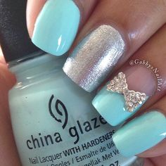 #ShareIG Simple nails using China Glaze-At Vase Value and a bow from @bornprettystore