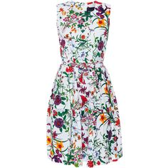 Samantha Sung Rachel Botanical Garden Stretch Cotton Poplin Dress (658725 IQD) ❤ liked on Polyvore featuring dresses, multicolor, floral sleeveless dress, floral pattern dress, flower print dress, print midi dress and mid calf dresses