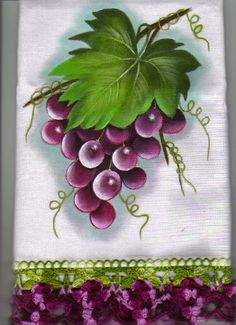 New Ideas For Crochet Edging Towel Ideas Fruit Painting, One Stroke Painting, Tole Painting, Fabric Painting, Painting & Drawing, Fabric Paint Designs, Fruit Art, Flower Art, Watercolor Paintings