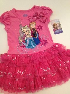 Disney Frozen Girl Elsa Anna Tunic Lace Tutu Dress Hot Pink Size 3T 4 5 6  #Disney #DressyEveryday