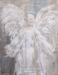 """""""Watching Over You"""" Original Painting by Debi Coules - Debi Coules Art Angel Wings Decor, Angel Art, Wall Art Pictures, Artwork Ideas, Art Wall Kids, Painting Inspiration, Collage Art, Art Projects, Project Ideas"""