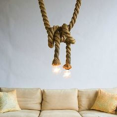 ... Vintage Rope Pendant Light Lamp Loft Creative Personality Industrial  Lamp Edison Bulb American Style For Living Room