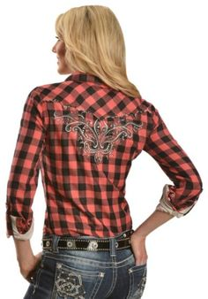 Miss Me Rhinestone Embellished & Embroidered Checkered Western Top - Sheplers