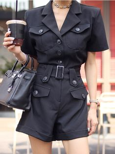 Wholesale Ol Turndown Collar Single-Breasted Rompers For Women from China to Japan Wholesale Fashion, Wholesale Clothing, Edgy Outfits, Rompers Women, Aesthetic Fashion, Fashion 2020, Spring Summer Fashion, Dress To Impress, Blouse Designs