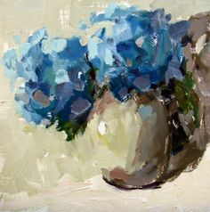 Blue | original oil painting of blue hydrangeas by artist Gina Brown