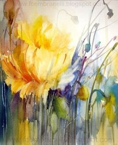 Watercolors, Oils and Acrylics by Brazilian artist Fabio Cembranelli featuring a gallery of original paintings, art tutorials, watercolor tips and his daily paintings. Abstract Flowers, Abstract Watercolor, Watercolour Painting, Watercolor Flowers, Watercolor Tips, Watercolors, Arte Floral, Watercolor Pictures, Yellow Art