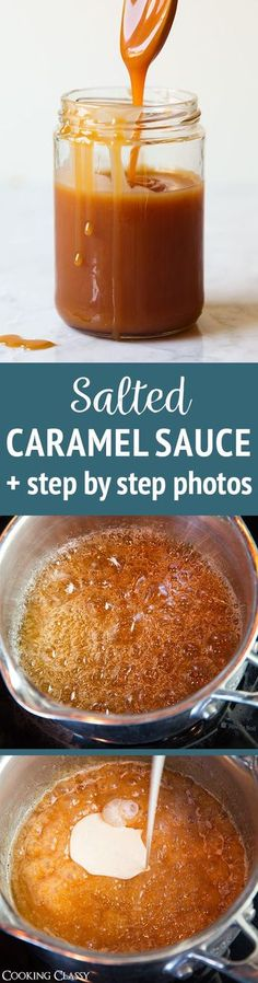 Salted Caramel Sauce (with Step by Step Pictures) - my go-to caramel sauce and one of my favorite recipes! We always end up eating it by the spoonful! #saltedcaramel #caramel #dessert #recipe via @cookingclassy