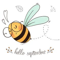sketches and character designs Cute Animal Drawings, Art Drawings, Planner Stickers, Bee Quotes, Bee Drawing, Bee Illustration, Hello September, Bee Tattoo, Bee Cards