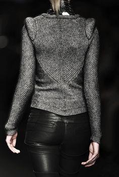 Tweed jacket leather pants---I'm so loving this