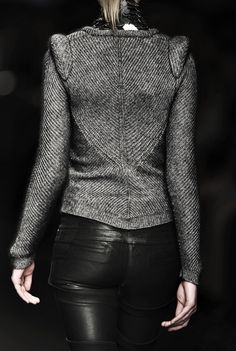 Tweed jacket leather pants---I'm so loving this