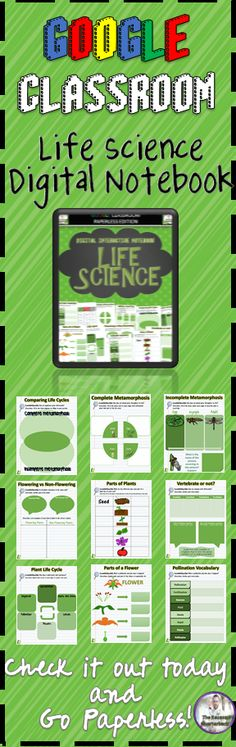 The Google Slides Notebook Activity includes: 1. Cover Page 2. Table of Contents 3. Food Chains Vocabulary 4. Producer/Consumer/Decomposer Sorting Activity 5. Building a Food Chain 6. Complete Metamorphosis 7. Incomplete Metamorphosis 8. Comparing and Contrasting Life Cycles 9. Vertebrate vs Invertebrate 10. Parts of Plants 11. Flowering vs. Non-Flowering Plants 12. Pollination Vocabulary 13. Parts of a Flower 14. Plant Life Cycle