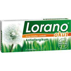 LORANO akut Tabletten bei Allergie und Heuschnupfen:   Packungsinhalt: 7 St Tabletten PZN: 01797130 Hersteller: Hexal AG Preis: 1,72 EUR…