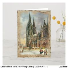 Christmas in Town - Greeting Card - vintage romantic gifts ideas diy Printable Christmas Cards, Christmas Greeting Cards, Christmas Greetings, Christmas Time, Holiday Cards, Christmas Stuff, Snow Holidays, Christian Cards, Romantic Gifts