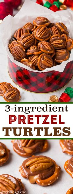Pretzel Turtles (3 Ingredients) - They'll become a yearly tradition! Easy and perfect for parties. (Candy Cake 3 Ingredients)