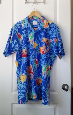 Hawaiian Tropical Birds Shirt Men's Size XLT Vintage Sovereign For the Tall Man Parrots and Hummingbirds Fabric Made in U.S.A. by RandomAmazing on Etsy