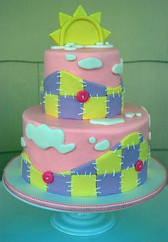 Pink Patchwork Baby Shower Cake