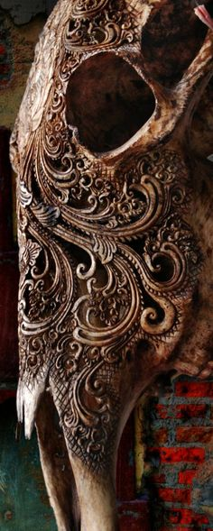 Intricate bone carvings.  I don't know if this is actually religious but it interesting