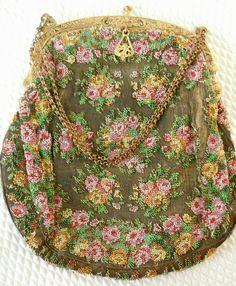 Antique-Silk-FRENCH-Beaded Purse-Ornate Gold Swan & Cherub Frame-For Restoration