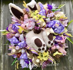 A personal favorite from my Etsy shop https://www.etsy.com/listing/494255980/easter-bunny-wreath-easter-wreath-bunny