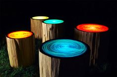 Tree Ring stump table by Judson Beaumont, Straight Line Designs, Patio Lighting, Tree Lighting, Lighting Ideas, Lighting Design, Log Stools, Outdoor Stools, Outdoor Seating, Backyard Seating, Outdoor Tables